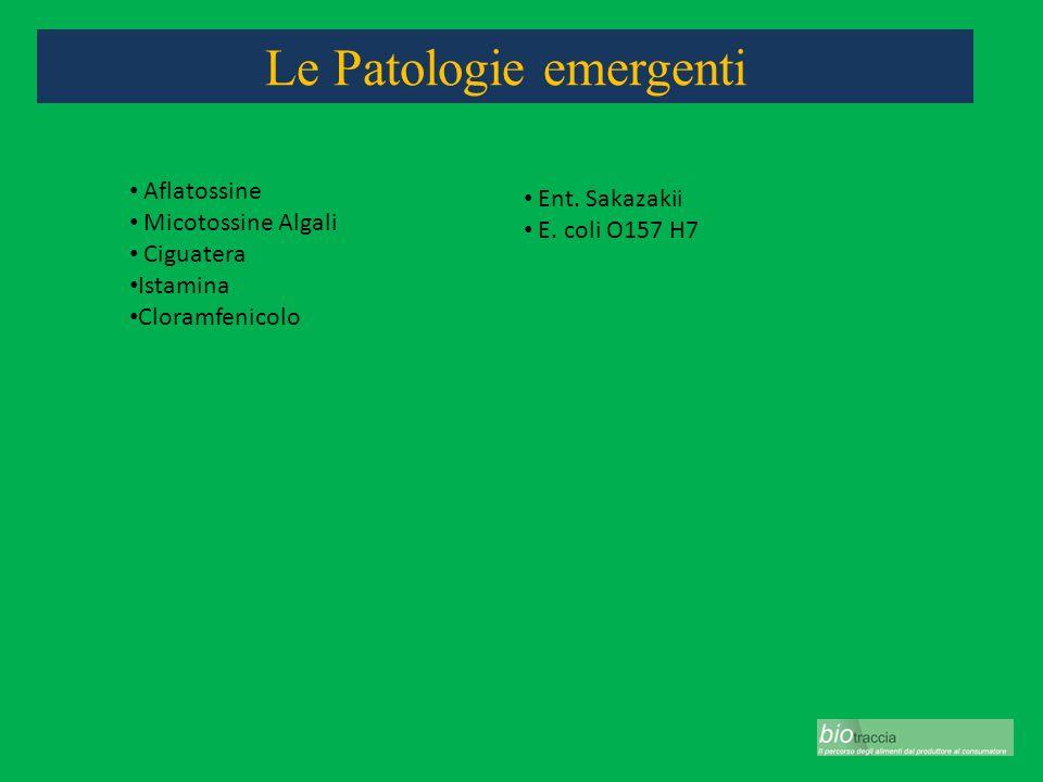 Le Patologie emergenti Aflatossine Micotossine Algali Ciguatera Istamina Cloramfenicolo Ent. Sakazakii E. coli O157 H7