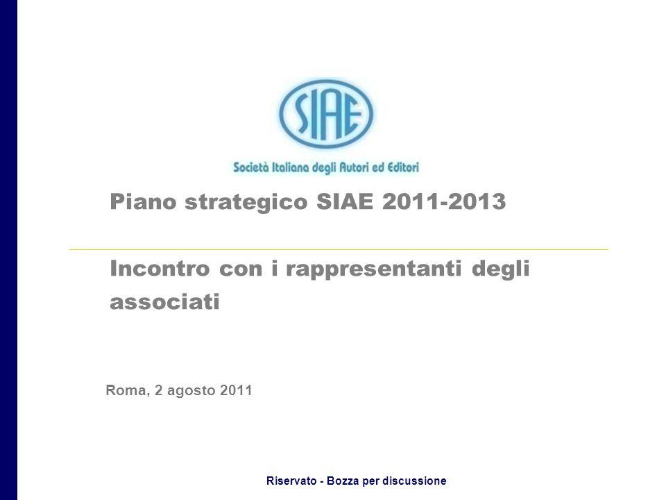 Riservato - Bozza per discussione Piano strategico SIAE 2011-2013 Incontro con i rappresentanti degli associati Roma, 2 agosto 2011