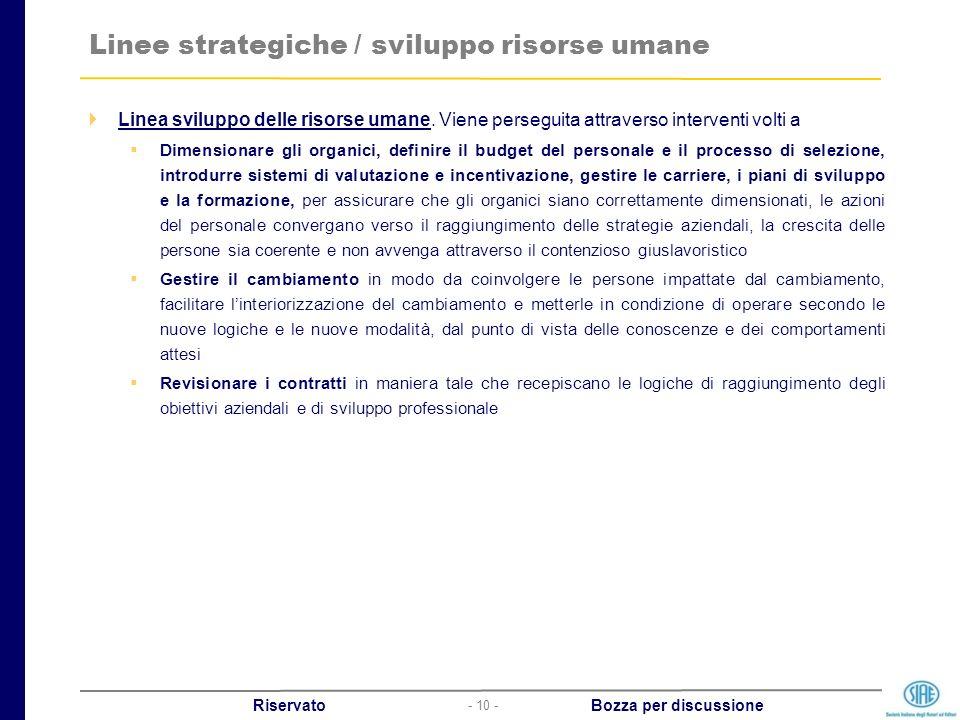 - 10 - Riservato Bozza per discussione Linee strategiche / sviluppo risorse umane Linea sviluppo delle risorse umane. Viene perseguita attraverso inte
