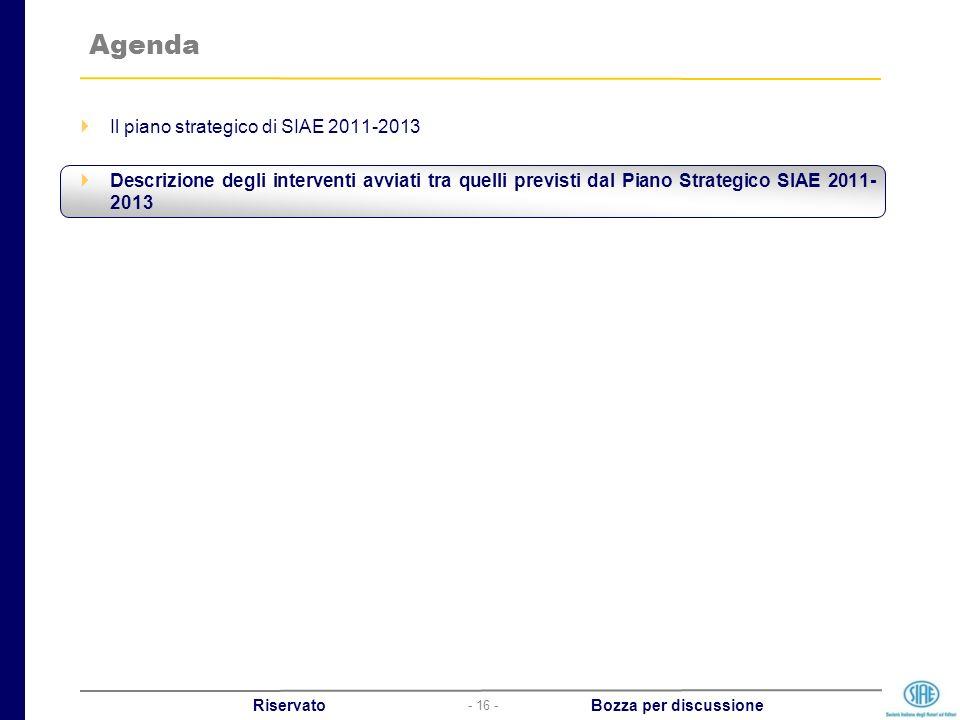 - 16 - Riservato Bozza per discussione Agenda Il piano strategico di SIAE 2011-2013 Descrizione degli interventi avviati tra quelli previsti dal Piano