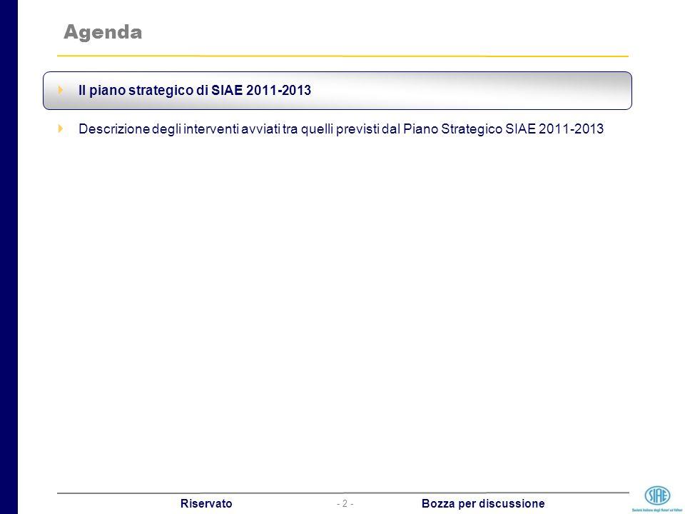 - 2 - Riservato Bozza per discussione Agenda Il piano strategico di SIAE 2011-2013 Descrizione degli interventi avviati tra quelli previsti dal Piano