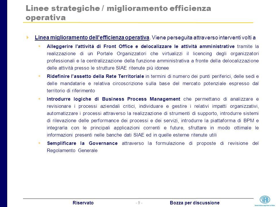 - 9 - Riservato Bozza per discussione Linee strategiche / miglioramento efficienza operativa Linea miglioramento dell'efficienza operativa. Viene pers