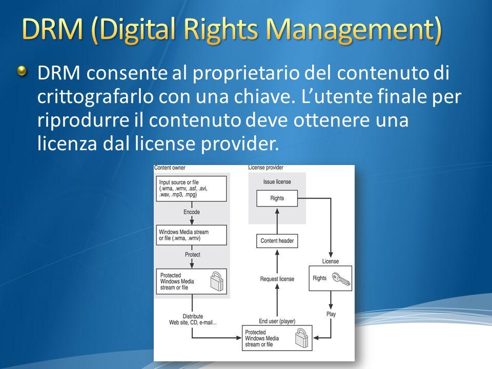 DRM consente al proprietario del contenuto di crittografarlo con una chiave.
