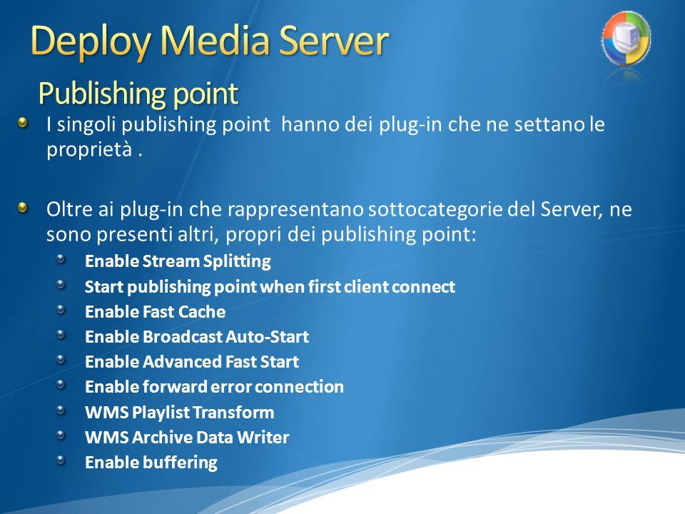 I singoli publishing point hanno dei plug-in che ne settano le proprietà.