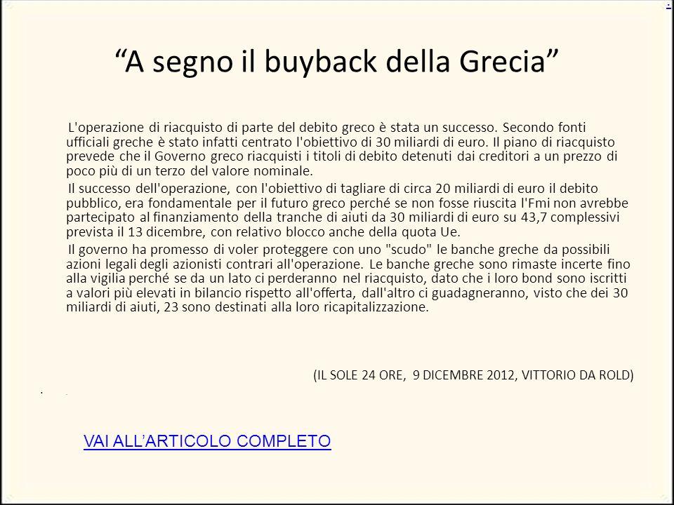 A segno il buyback della Grecia L operazione di riacquisto di parte del debito greco è stata un successo.