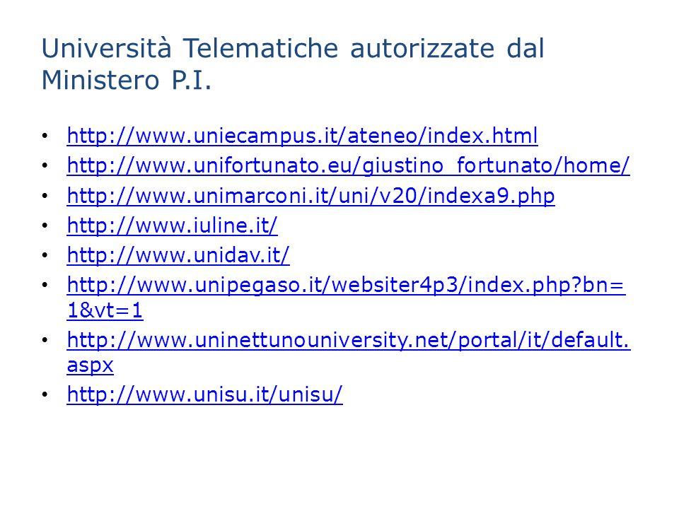 Università Telematiche autorizzate dal Ministero P.I.