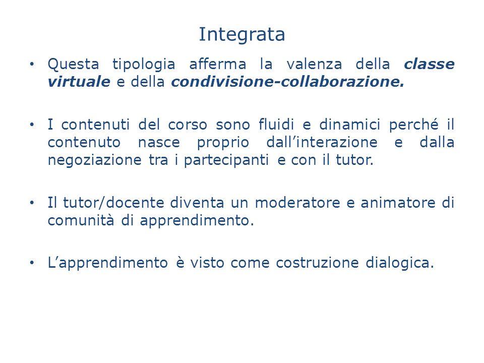 Integrata Questa tipologia afferma la valenza della classe virtuale e della condivisione-collaborazione.