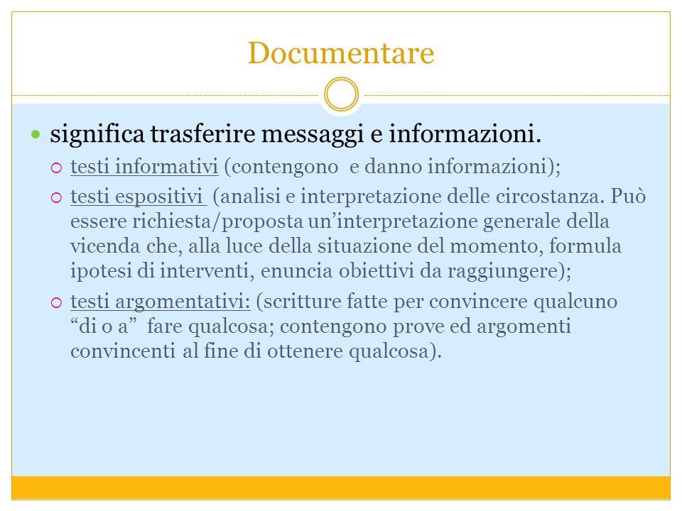 Documentare significa trasferire messaggi e informazioni.