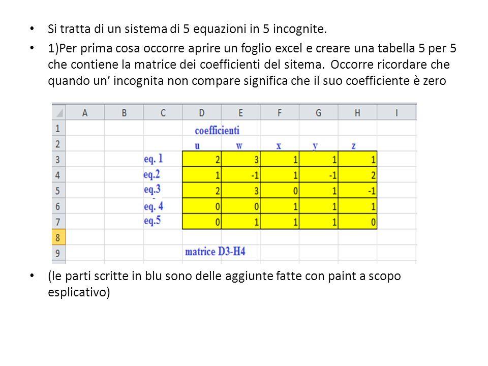 Si tratta di un sistema di 5 equazioni in 5 incognite. 1)Per prima cosa occorre aprire un foglio excel e creare una tabella 5 per 5 che contiene la ma