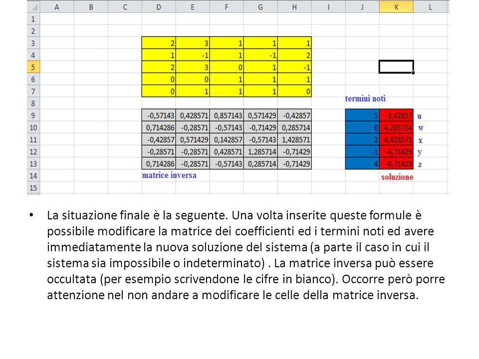 La situazione finale è la seguente. Una volta inserite queste formule è possibile modificare la matrice dei coefficienti ed i termini noti ed avere im