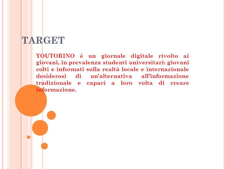 TARGET YOUTORINO è un giornale digitale rivolto ai giovani, in prevalenza studenti universitari: giovani colti e informati sulla realtà locale e internazionale desiderosi di unalternativa allinformazione tradizionale e capaci a loro volta di creare informazione.
