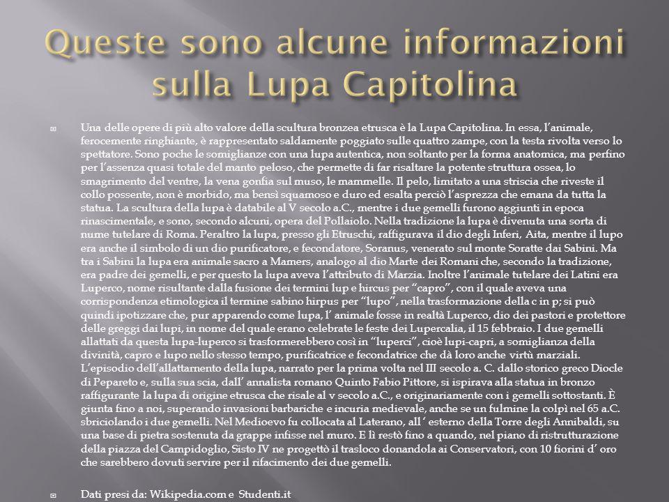 Una delle opere di più alto valore della scultura bronzea etrusca è la Lupa Capitolina.