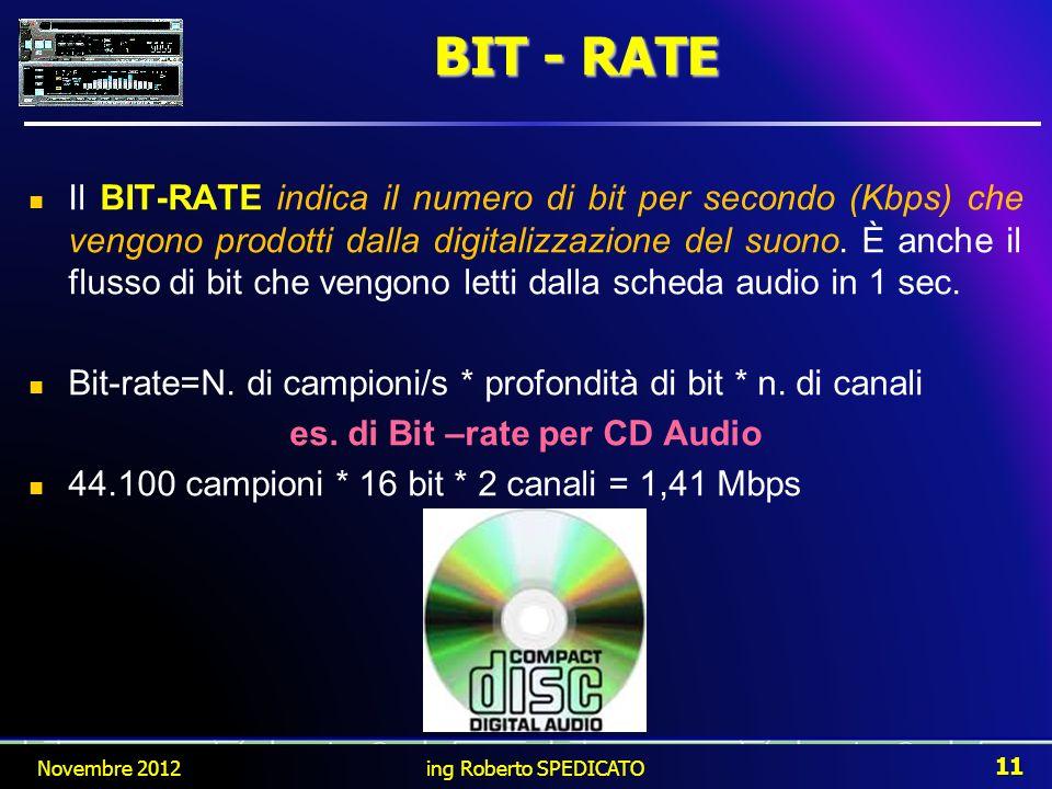 Il BIT-RATE indica il numero di bit per secondo (Kbps) che vengono prodotti dalla digitalizzazione del suono. È anche il flusso di bit che vengono let