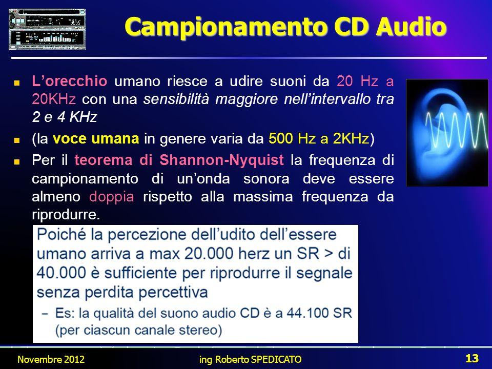 Lorecchio umano riesce a udire suoni da 20 Hz a 20KHz con una sensibilità maggiore nellintervallo tra 2 e 4 KHz (la voce umana in genere varia da 500