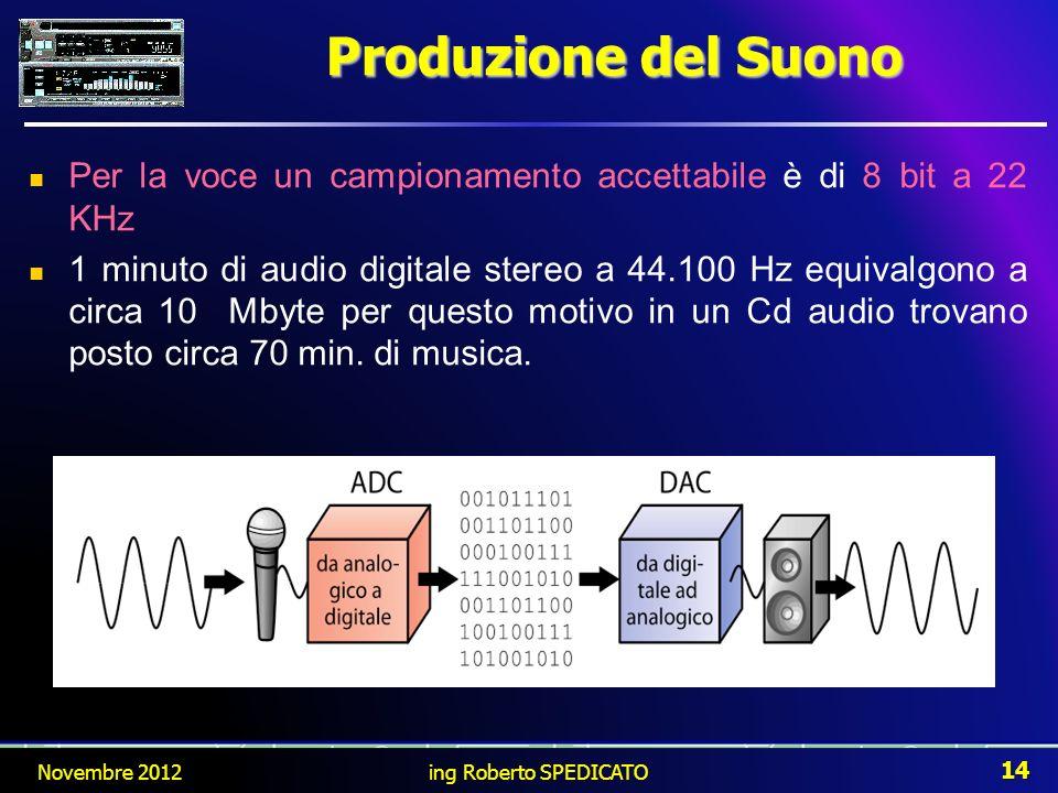 Per la voce un campionamento accettabile è di 8 bit a 22 KHz 1 minuto di audio digitale stereo a 44.100 Hz equivalgono a circa 10 Mbyte per questo mot