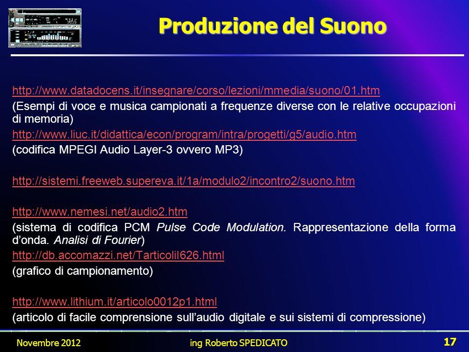 Produzione del Suono http://www.datadocens.it/insegnare/corso/lezioni/mmedia/suono/01.htm (Esempi di voce e musica campionati a frequenze diverse con