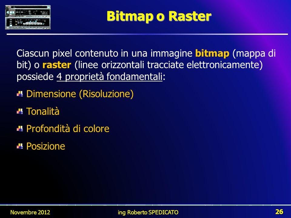 Bitmap o Raster bitmap raster Ciascun pixel contenuto in una immagine bitmap (mappa di bit) o raster (linee orizzontali tracciate elettronicamente) po
