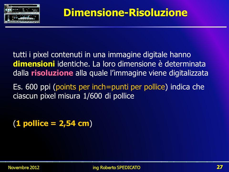 Dimensione-Risoluzione dimensioni risoluzione tutti i pixel contenuti in una immagine digitale hanno dimensioni identiche. La loro dimensione è determ