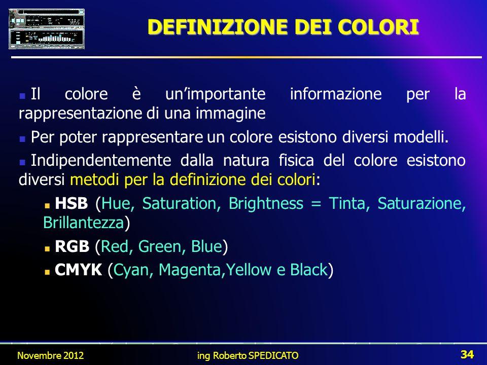 DEFINIZIONE DEI COLORI Novembre 2012 34 ing Roberto SPEDICATO Il colore è unimportante informazione per la rappresentazione di una immagine Per poter