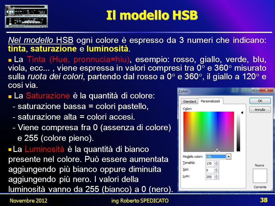 Il modello HSB Novembre 2012 38 ing Roberto SPEDICATO Nel modello HSB ogni colore è espresso da 3 numeri che indicano: tinta, saturazione e luminosità
