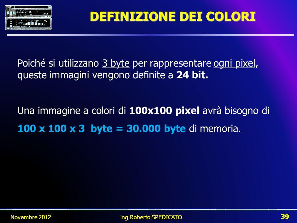 DEFINIZIONE DEI COLORI Poiché si utilizzano 3 byte per rappresentare ogni pixel, queste immagini vengono definite a 24 bit. Una immagine a colori di 1
