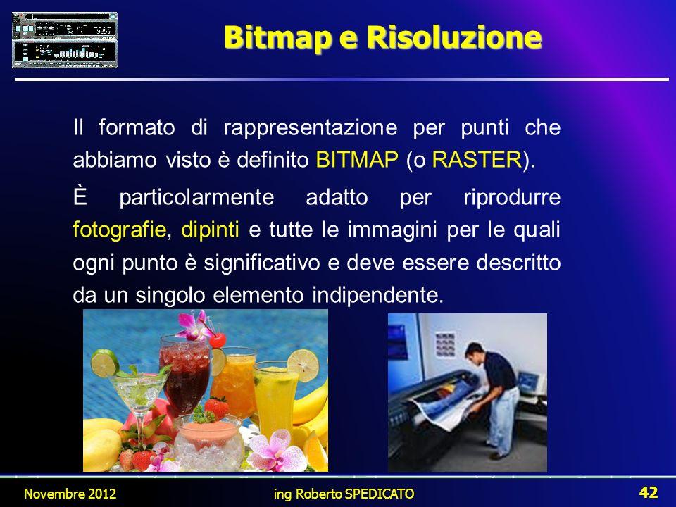 Bitmap e Risoluzione Il formato di rappresentazione per punti che abbiamo visto è definito BITMAP (o RASTER). È particolarmente adatto per riprodurre