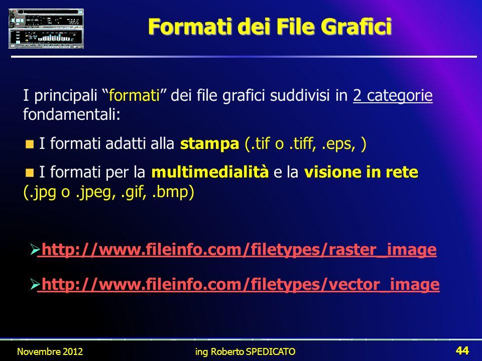 Formati dei File Grafici I principali formati dei file grafici suddivisi in 2 categorie fondamentali: stampa (. I formati adatti alla stampa (.tif o.t