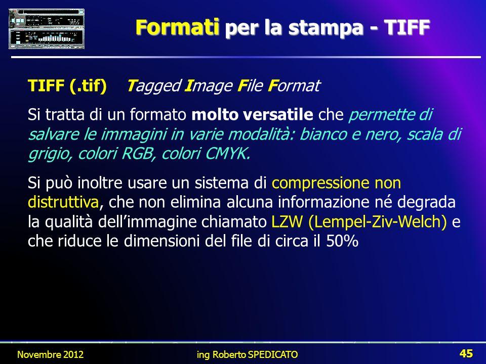 F ormati per la stampa - TIFF TIFF (.tif)Tagged Image File Format Si tratta di un formato molto versatile che permette di salvare le immagini in varie