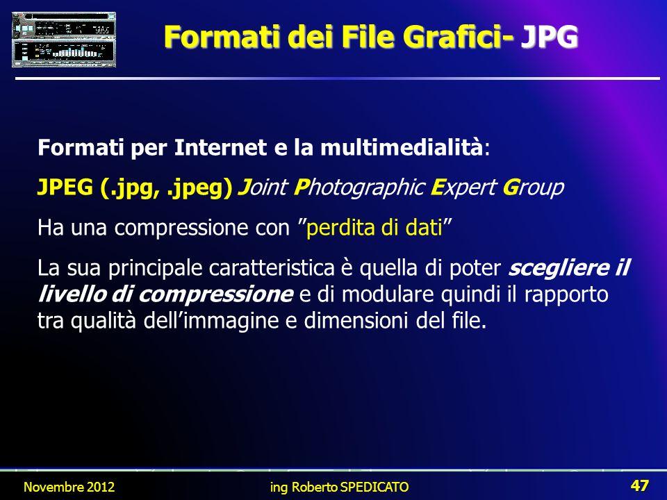 Formati per Internet e la multimedialità: JPEG (.jpg,.jpeg)Joint Photographic Expert Group Ha una compressione con perdita di dati La sua principale c