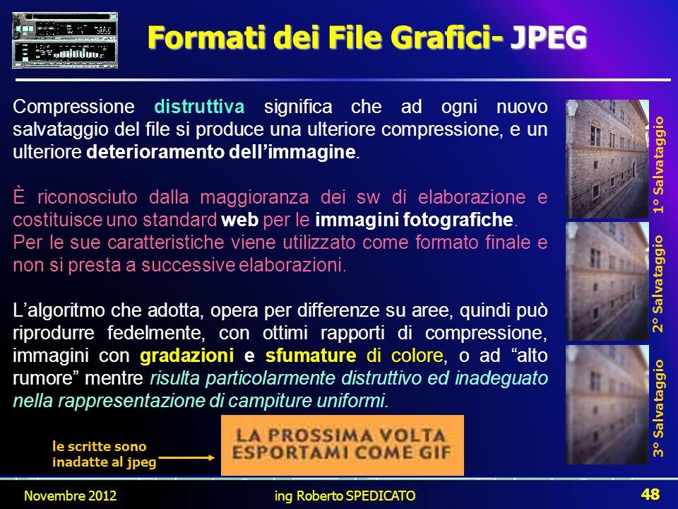 Formati dei File Grafici- JPEG Compressione distruttiva significa che ad ogni nuovo salvataggio del file si produce una ulteriore compressione, e un u