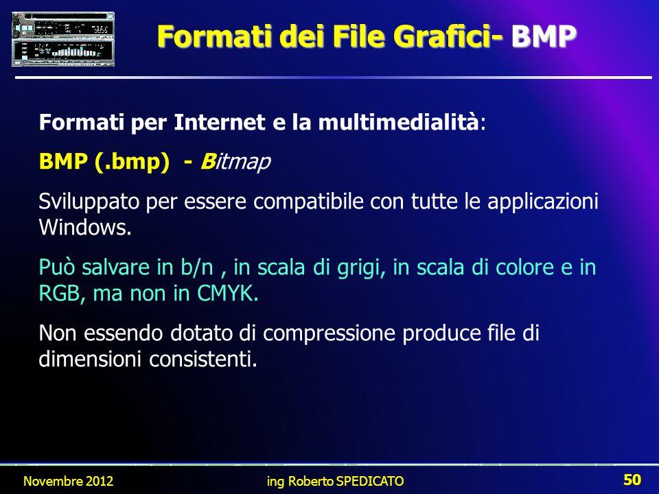 Formati per Internet e la multimedialità: BMP (.bmp) - Bitmap Sviluppato per essere compatibile con tutte le applicazioni Windows. Può salvare in b/n,