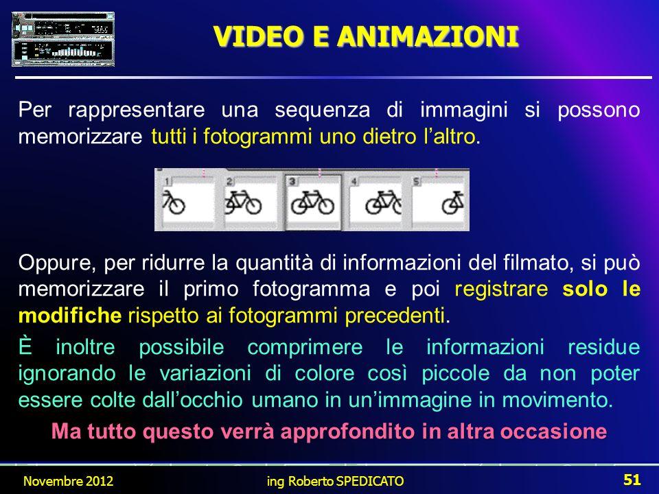 VIDEO E ANIMAZIONI Per rappresentare una sequenza di immagini si possono memorizzare tutti i fotogrammi uno dietro laltro. Oppure, per ridurre la quan