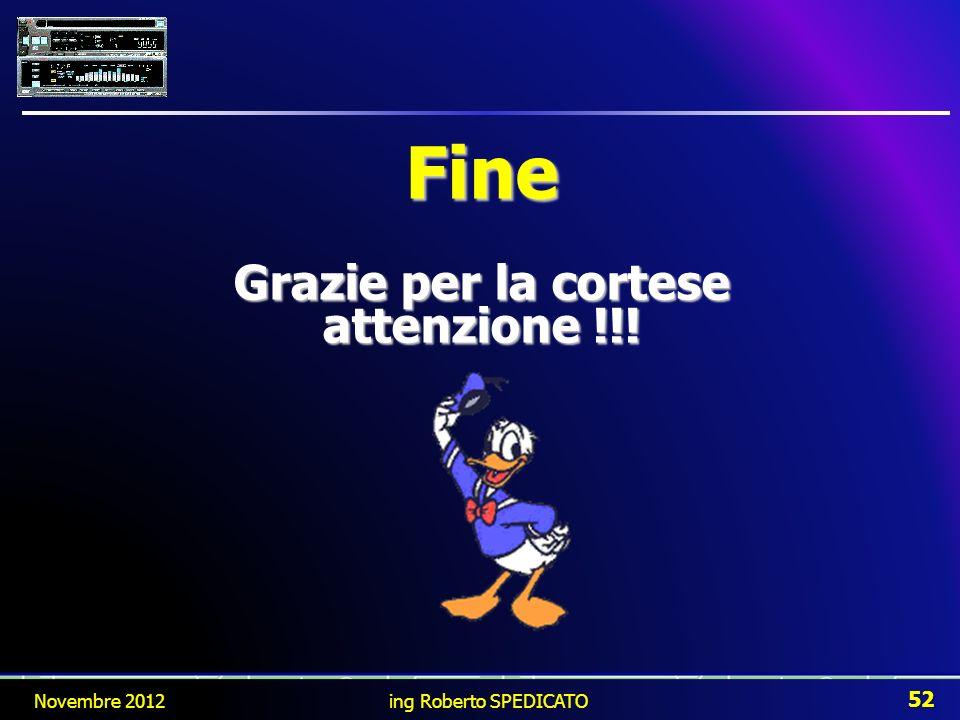 Novembre 2012 52 ing Roberto SPEDICATO Fine Grazie per la cortese attenzione !!!