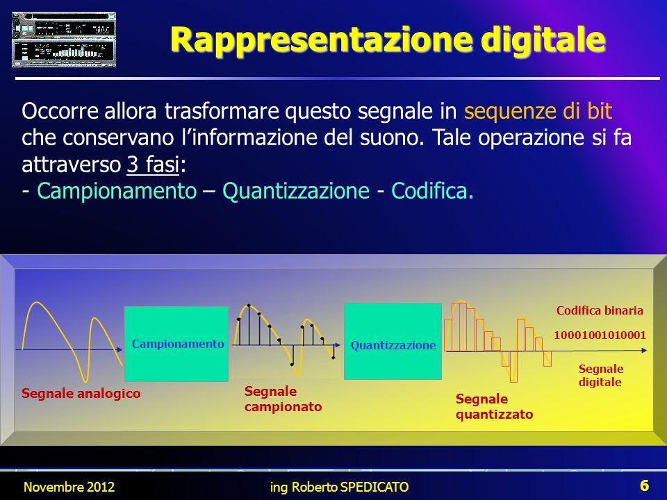 Rappresentazione digitale Novembre 2012 6 ing Roberto SPEDICATO Occorre allora trasformare questo segnale in sequenze di bit che conservano linformazi