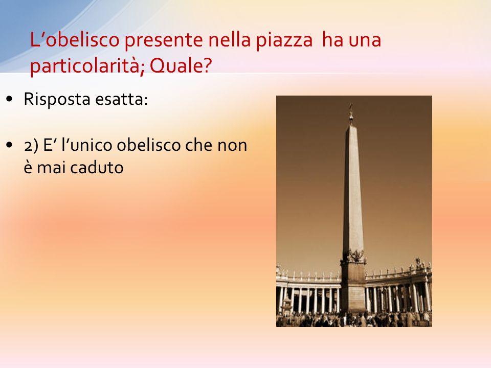 1) E lobelisco più alto presente a Roma 2) E l unico obelisco che non è mai caduto. 3) E lunico obelisco che ha i geroglifici solo su 1 lato 4) E una