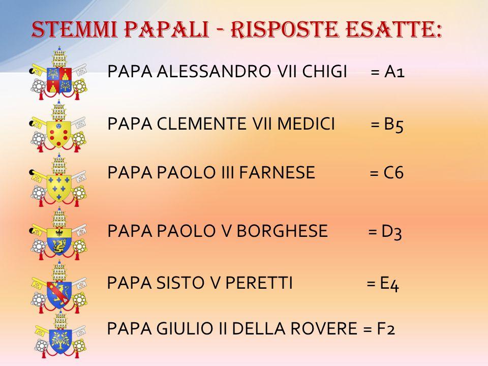 A B C D E F 1) PAPA ALESSANDRO VII - CHIGI 2) PAPA GIULIO II – DELLA ROVERE 3) PAPA PAOLO V – BORGHESE 4) PAPA SISTO V – PERETTI 5) PAPA CLEMENTE VII