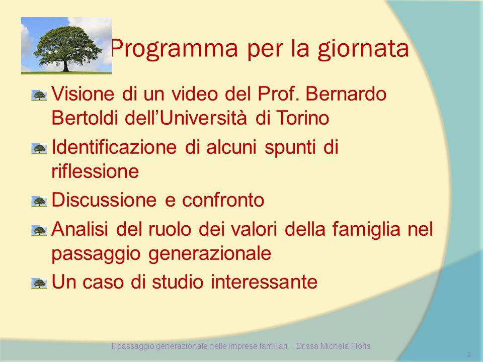 Programma per la giornata Visione di un video del Prof.