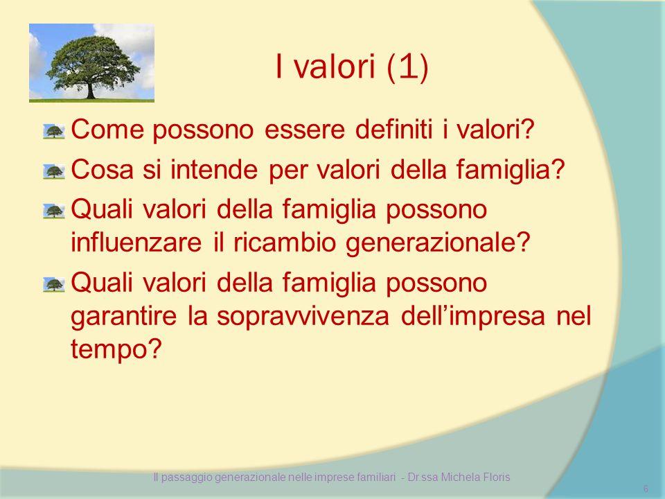 I valori (1) Come possono essere definiti i valori.