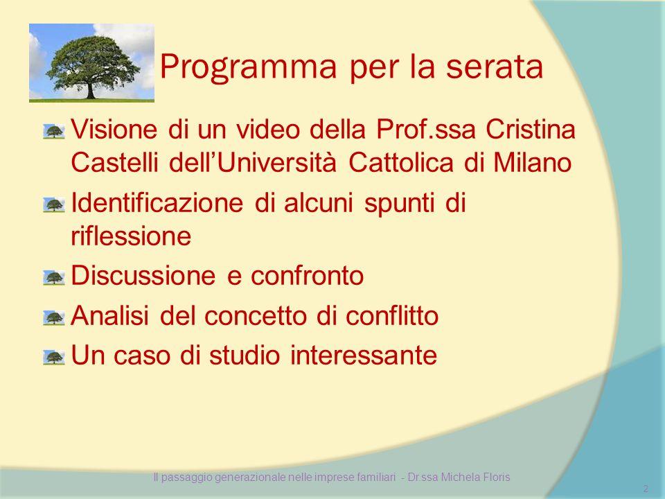 Programma per la serata Visione di un video della Prof.ssa Cristina Castelli dellUniversità Cattolica di Milano Identificazione di alcuni spunti di ri