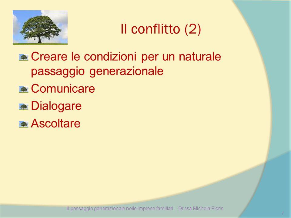 Il conflitto (2) Creare le condizioni per un naturale passaggio generazionale Comunicare Dialogare Ascoltare Il passaggio generazionale nelle imprese familiari - Dr.ssa Michela Floris 7