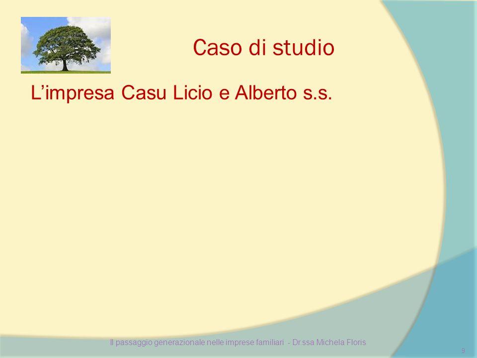 Caso di studio Limpresa Casu Licio e Alberto s.s. Il passaggio generazionale nelle imprese familiari - Dr.ssa Michela Floris 9
