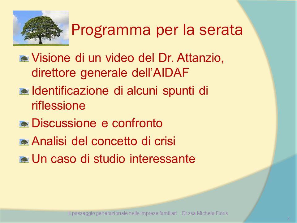 Programma per la serata Visione di un video del Dr.