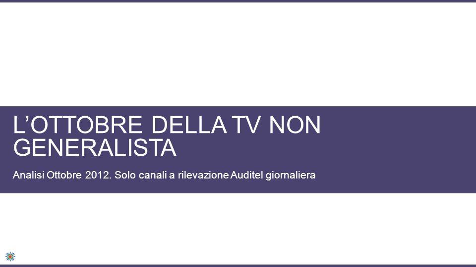 LOTTOBRE DELLA TV NON GENERALISTA Analisi Ottobre 2012. Solo canali a rilevazione Auditel giornaliera