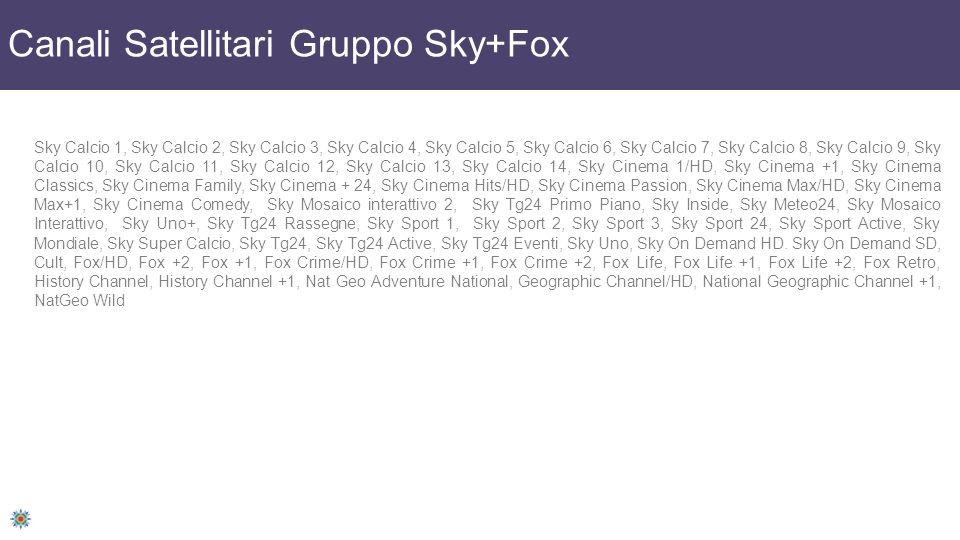 Canali Satellitari Gruppo Sky+Fox Sky Calcio 1, Sky Calcio 2, Sky Calcio 3, Sky Calcio 4, Sky Calcio 5, Sky Calcio 6, Sky Calcio 7, Sky Calcio 8, Sky Calcio 9, Sky Calcio 10, Sky Calcio 11, Sky Calcio 12, Sky Calcio 13, Sky Calcio 14, Sky Cinema 1/HD, Sky Cinema +1, Sky Cinema Classics, Sky Cinema Family, Sky Cinema + 24, Sky Cinema Hits/HD, Sky Cinema Passion, Sky Cinema Max/HD, Sky Cinema Max+1, Sky Cinema Comedy, Sky Mosaico interattivo 2, Sky Tg24 Primo Piano, Sky Inside, Sky Meteo24, Sky Mosaico Interattivo, Sky Uno+, Sky Tg24 Rassegne, Sky Sport 1, Sky Sport 2, Sky Sport 3, Sky Sport 24, Sky Sport Active, Sky Mondiale, Sky Super Calcio, Sky Tg24, Sky Tg24 Active, Sky Tg24 Eventi, Sky Uno, Sky On Demand HD.