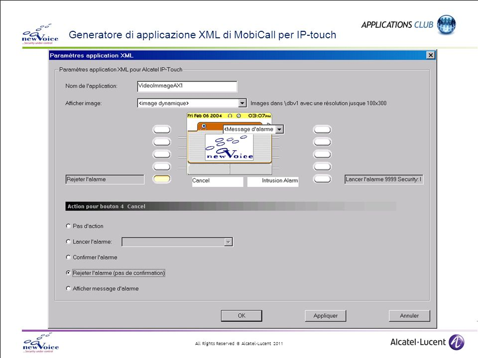 All Rights Reserved © Alcatel-Lucent 2011 Generatore di applicazione XML di MobiCall per IP-touch