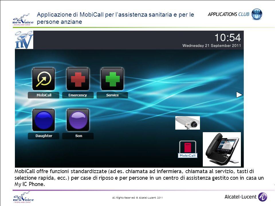 All Rights Reserved © Alcatel-Lucent 2011 Applicazione di MobiCall per lassistenza sanitaria e per le persone anziane MobiCall offre funzioni standard