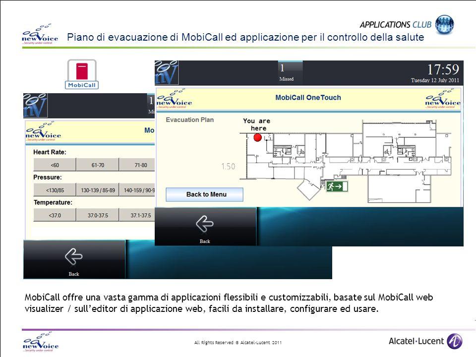 All Rights Reserved © Alcatel-Lucent 2011 Piano di evacuazione di MobiCall ed applicazione per il controllo della salute MobiCall offre una vasta gamm