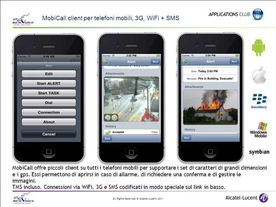 All Rights Reserved © Alcatel-Lucent 2011 MobiCall client per telefoni mobili, 3G, WiFi + SMS MobiCall offre piccoli client su tutti i telefoni mobili