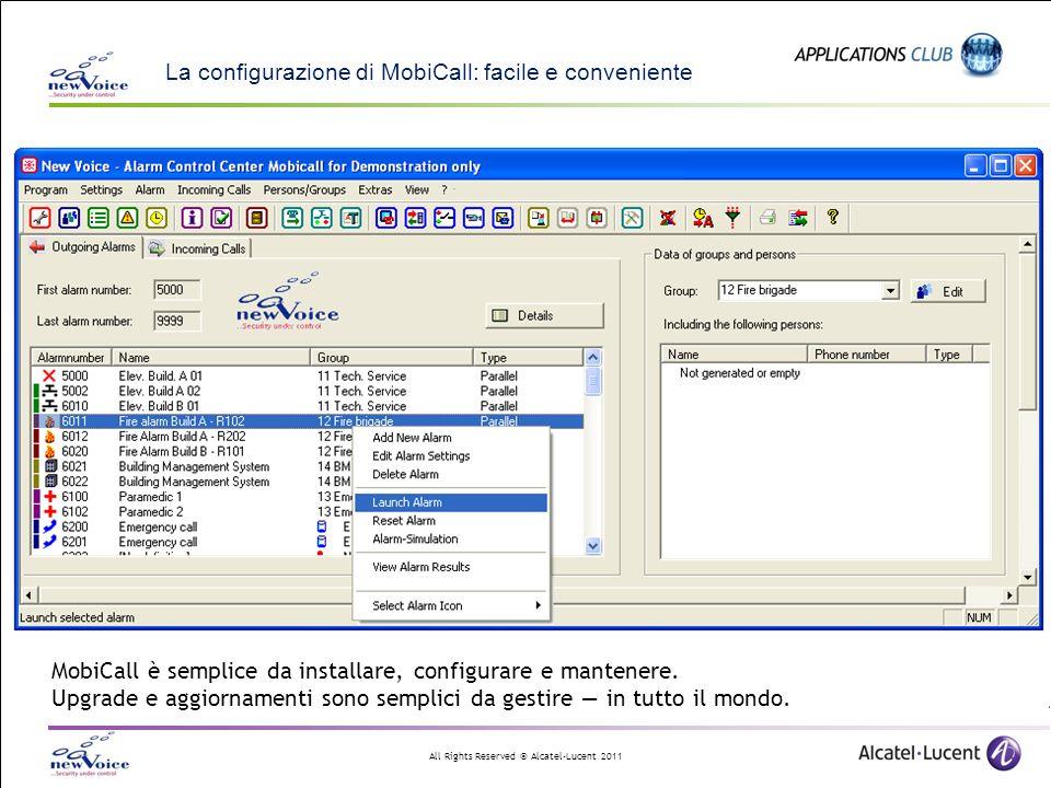 All Rights Reserved © Alcatel-Lucent 2011 La configurazione di MobiCall: facile e conveniente MobiCall è semplice da installare, configurare e mantene