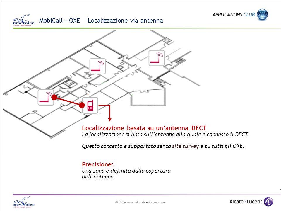 All Rights Reserved © Alcatel-Lucent 2011 MobiCall – OXE Localizzazione via antenna Localizzazione basata su unantenna DECT La localizzazione si basa